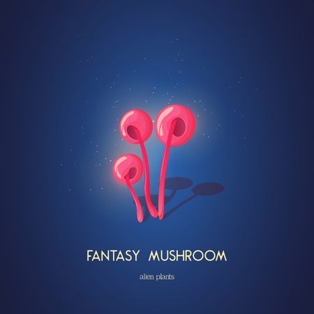 Beautiful fantasy mushroom. Magic unusual nature elements isolated on white background. Vector illustration for Mushrooms Collection. Ilustrace