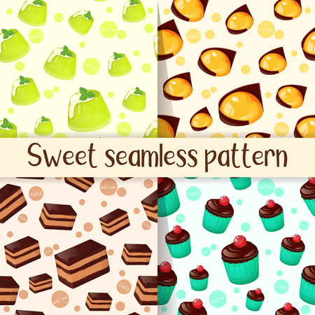 Set of colorful seamless pattern with tasty desserts in cartoon style. Cupcake, cake, jelly and mango yuzu dessert. Vector illustration for Desserts Collection.