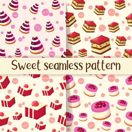 Set of colorful seamless pattern with tasty desserts in cartoon style. Cake, jelly and cheesecake. Vector illustration for Desserts Collection. Ilustrace