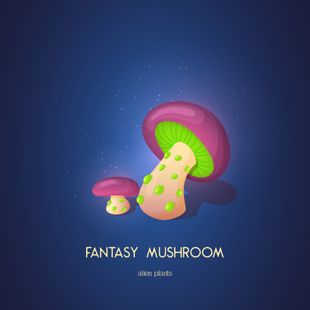 Beautiful fantasy mushroom. Magic unusual nature elements isolated on white background. Vector illustration for Mushrooms Collection. 矢量图像
