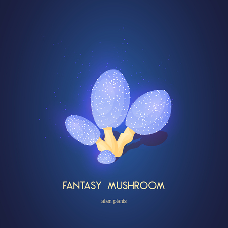 Beautiful fantasy mushroom. Magic unusual nature elements isolated on white background. Vector illustration. Mushrooms Collection. Ilustração