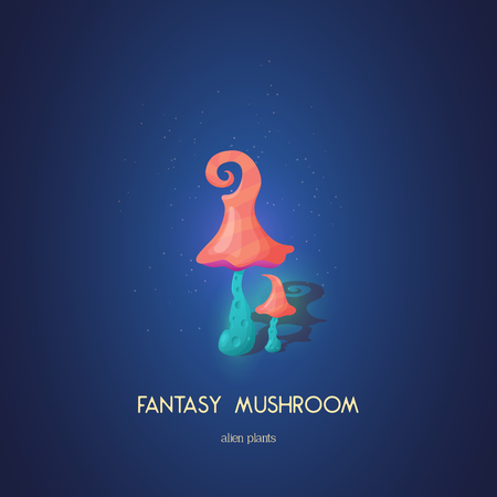 Beautiful fantasy mushroom. Magic unusual nature elements isolated on white background. Vector illustration. Mushrooms Collection. Çizim