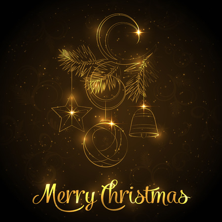Merry Christmas and Happy New Year greeting card, background or poster with gold lettering. Vector illustration for Holiday Collection.