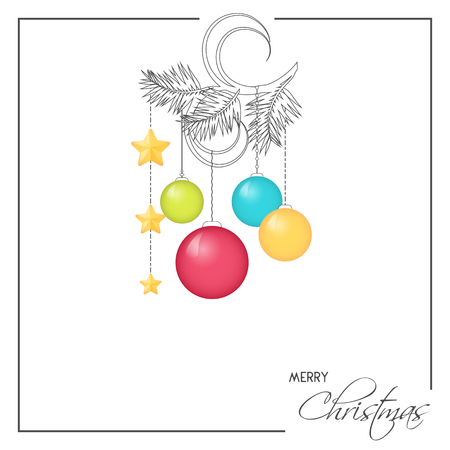 Bright Christmas greeting card, background, poster in minimalist style. Vector illustration for Holiday Collection.