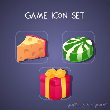 Set of game icon in cartoon style. Food and present: cheese, candy and box. Bright design for app user interface. Part 2. Vector illustration. Icons Collection.