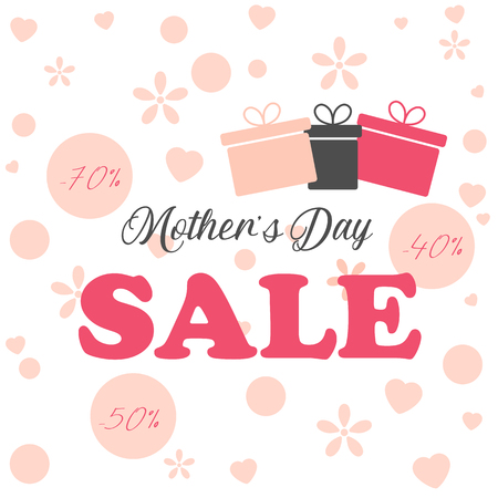 Mothers day sale background layout in minimalist style for banners,wallpaper,flyers, invitation, posters, brochure, voucher discount. Vector illustration. Ilustrace