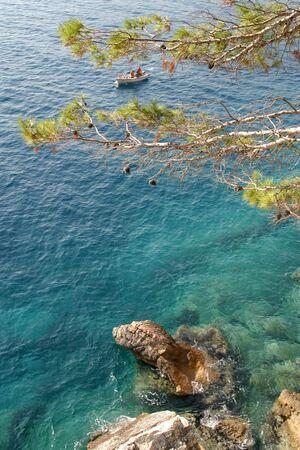 sveti: Adriatic sea photographed from Sveti Stefan, Montenegro