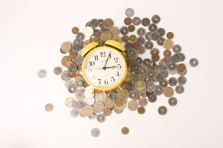 future earnings: Clock and coins