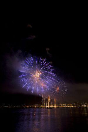 happening: Fireworks on the mediterranean sea Stock Photo