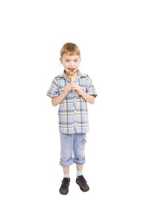 lolipop: Little boy with lolipop (isolated on white)