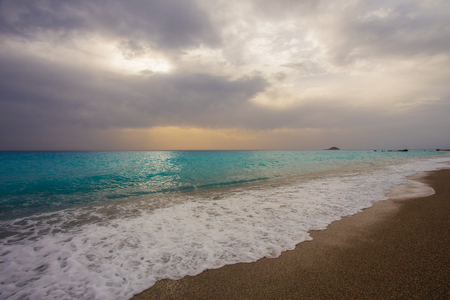deserted: The beautiful beach of Gialos, on the island of Lefkada in Greece