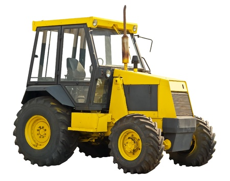 agronomics: Yellow farm  tractor on a white background