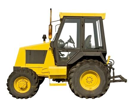 Gele landbouwbedrijftractor op een witte achtergrond Stockfoto