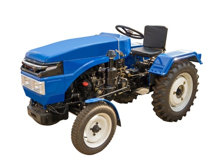 Blue tractor on a white backgroun photo
