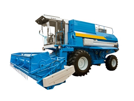harvester: Blue agricultural harvester on a white background Stock Photo