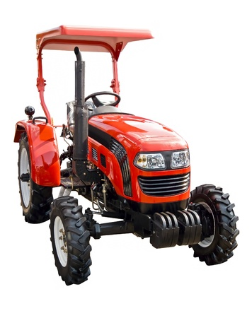 Red  tractor on a white background photo