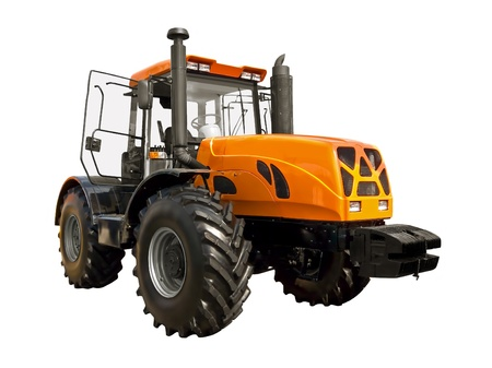 Yellow tractor on a white background