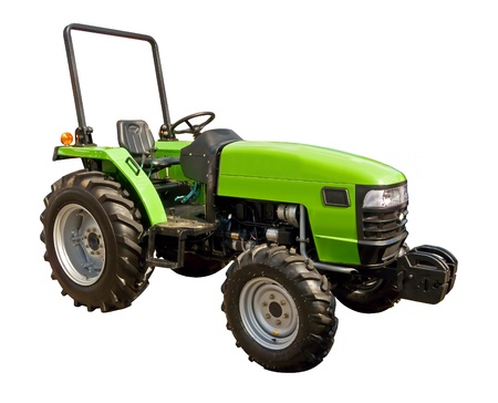 Green tractor on a white background photo