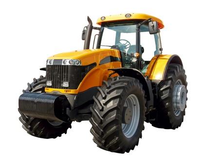 白い背景の上の農場トラクター