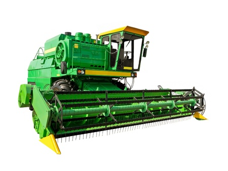 harvester: Green agricultural harvester on a white background