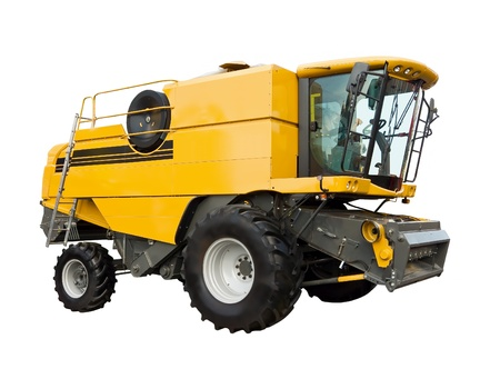harvester: New agricultural harvester on a white background Stock Photo