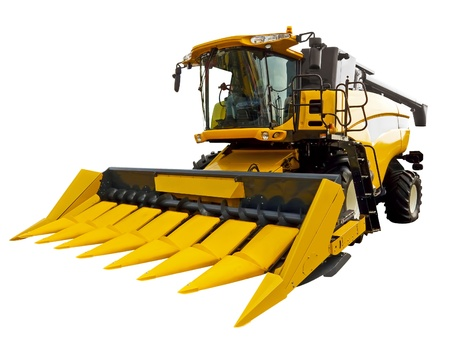 farm tractor: New agricultural harvester on a white background Stock Photo
