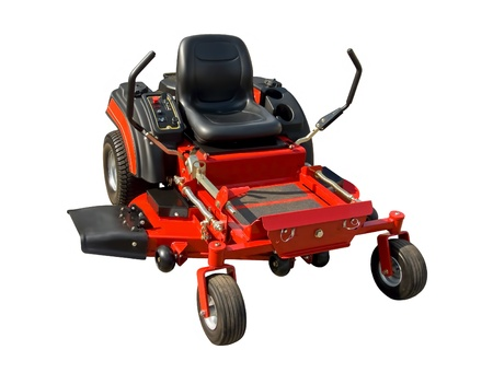 Red lawnmower on a white background photo