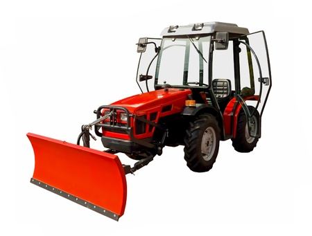 Small red tractor on a white background photo