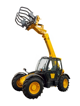 Telescopic handler on a white background Stock fotó
