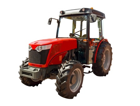 Red farm tractor on a white background