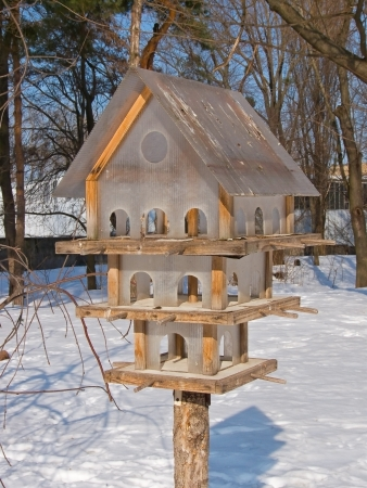 Multi-storey house and feeder for the birds in winter photo