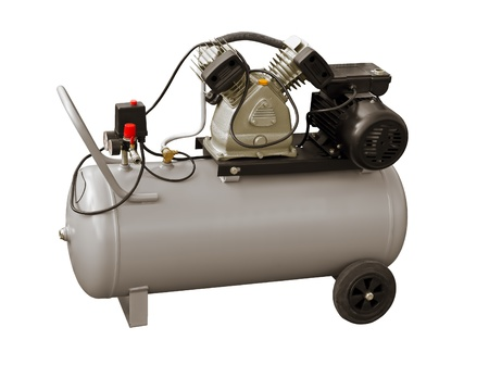compressor: Electric air pump on a white background Stock Photo