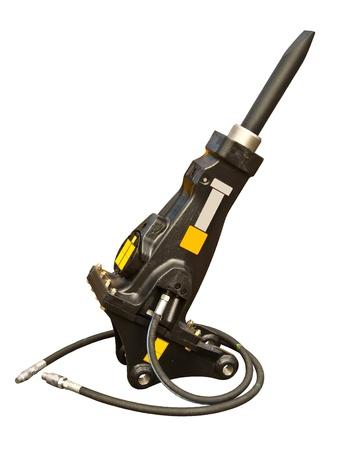 hydraulic hoses: Powerful hydraulic hammer Stock Photo