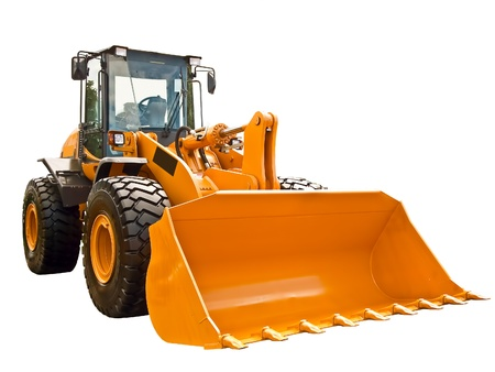 wheel loader: New buldozer on a white background