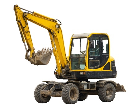mini loader: Old excavator Stock Photo