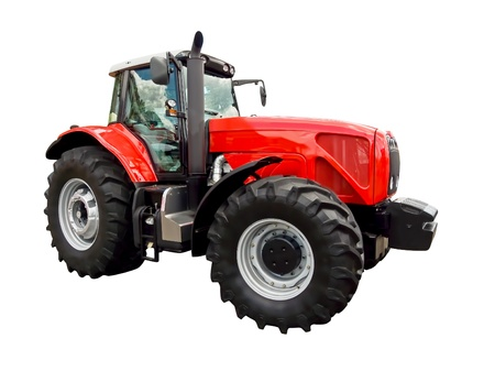 agronomics: Red farm  tractor Stock Photo