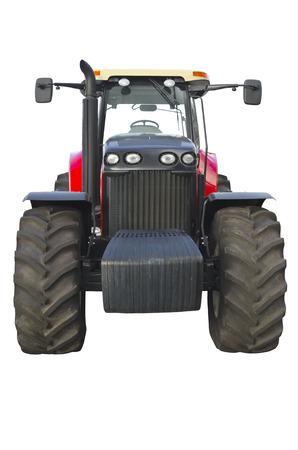 agronomics: Agricultural tractor isolated on a white background Stock Photo