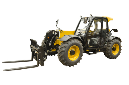 Telescopic handler isolated on a white background Stock fotó
