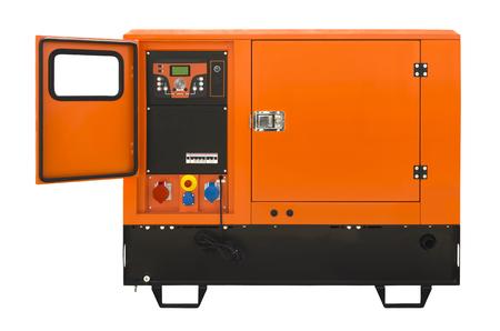 mains: Big generator isolated on a white background Stock Photo