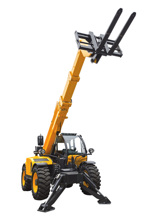handler: Telescopic handler isolated on a white background Stock Photo