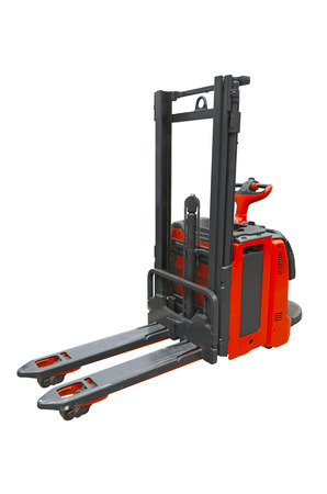 stacker: Pallet stacker isolated on a white background Stock Photo
