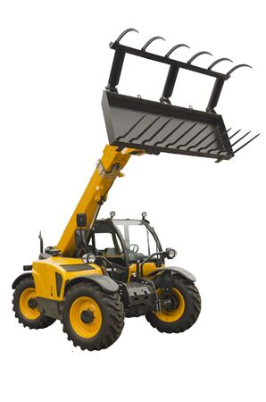 telescopic: Telescopic handler isolated on a white background Stock Photo