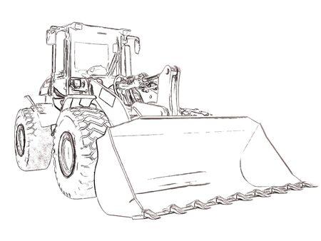 scraper: Outlines bulldozer Stock Photo