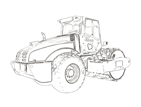 Outlines of the steamroller Stock Photo