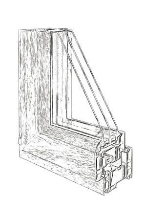 double glazing: Outlines of the sample PVC of a window