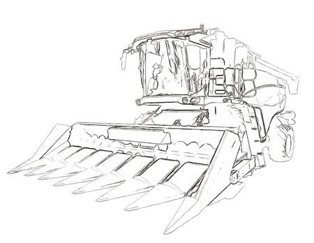Umrisse der landwirtschaftlichen Erntemaschine Standard-Bild