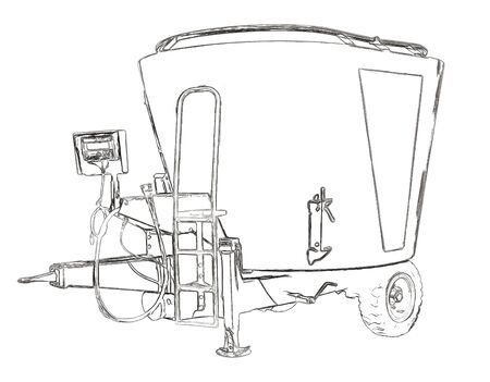nutriments: Outlines of the mixer-wagon Stock Photo