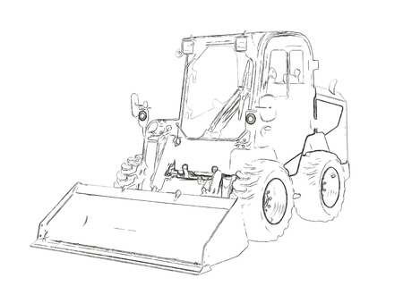 construction vehicle: Outlines of the mini bulldozer