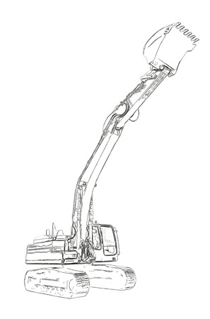 dug: Outlines of the excavator Stock Photo