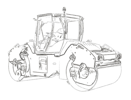leveling: Outlines of the steamroller Stock Photo